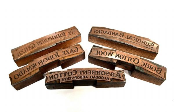 Victorian Wood & Copper Antique Apothecary Bottle Paper Label Ink Stamp Blocks